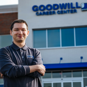 Alex Balla In Front Of Goodwill Career Center