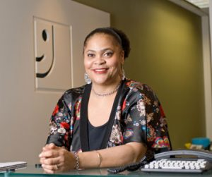 Goodwill's switchboard operator/receptionist Lisa Smith